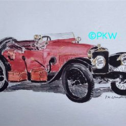 Father's Day gift.  Gift for him. Gift for Grandad. A4 Size Print of Original watercolour Classic car 1913 Hispano-Suiza