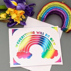 Papercut handmade rainbow 'Everything will be OK' friendship card - lockdown, love, virtual hug