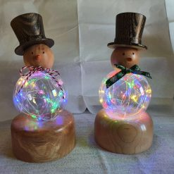 Glass and Wood Snowman With LED Lights