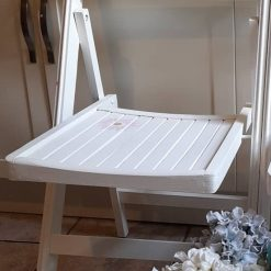 Furniture - White shabby chic folding chair with daisy design
