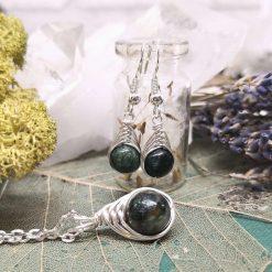 Emerald gemstone herringbone wrapped pendant necklace and matching dangle earring set May Birthstone