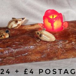 Mouse log tealight holder in yew