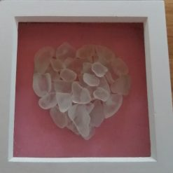 Sea glass heart framed picture