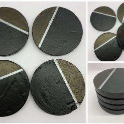 Black and Dark Gold Coasters, Delicate Concrete