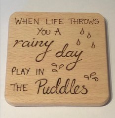 Pyrography Decorated Wooden Coaster Rainy Day