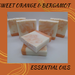 Handmade Artisan sweet orange and bergamot cold process soap ,free postage uk ,CPSR ,vegan friendly ,cruelty free