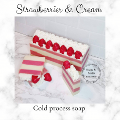 Handmade Artisan strawberries and cream cold process soap,Cruelty free ,vegan friendly ,CPSR ,free postage uk