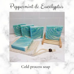 Handmade Artisan Eucalyptus and peppermint essential oil cold process soap, free postage uk ,CPSR ,vegan friendly ,cruelty free