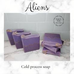 Handmade Artisan ALIENS cold process soap,free postage uk ,CPSR ,vegan friendly ,cruelty free,Artisan soaps ,