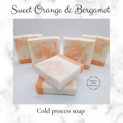Handmade Artisan sweet orange and bergamot cold process soap ,free postage uk ,CPSR ,vegan friendly ,cruelty free,Artisan soaps ,luxury skincare ,Bathandbeauty ,essential oils ,Handmade soaps ,Soaps