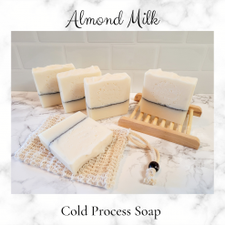 Handmade Artisan Almond milk cold process soap, free postage uk ,CPSR ,vegan friendly ,cruelty free