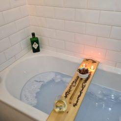 Rustic Wooden Bath Buddy with Lichtenberg Fractal Detailing.