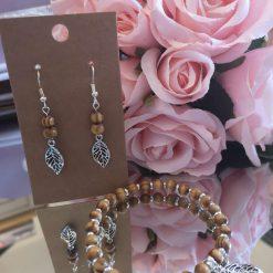 Wooden Beaded Bracelet and Earring Set -(sterling silver hooks)