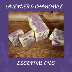 Handmade Artisan Lavender and chamomile cold process soap, free postage uk ,CPSR ,vegan friendly ,cruelty free