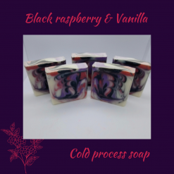 Handmade Artisan black raspberry and vanilla cold process soap, free postage uk ,CPSR ,vegan friendly ,cruelty free