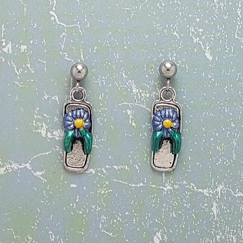 Earrings, Flip Flop Sandal - Choice of Ball Studs or Wire Hooks 3