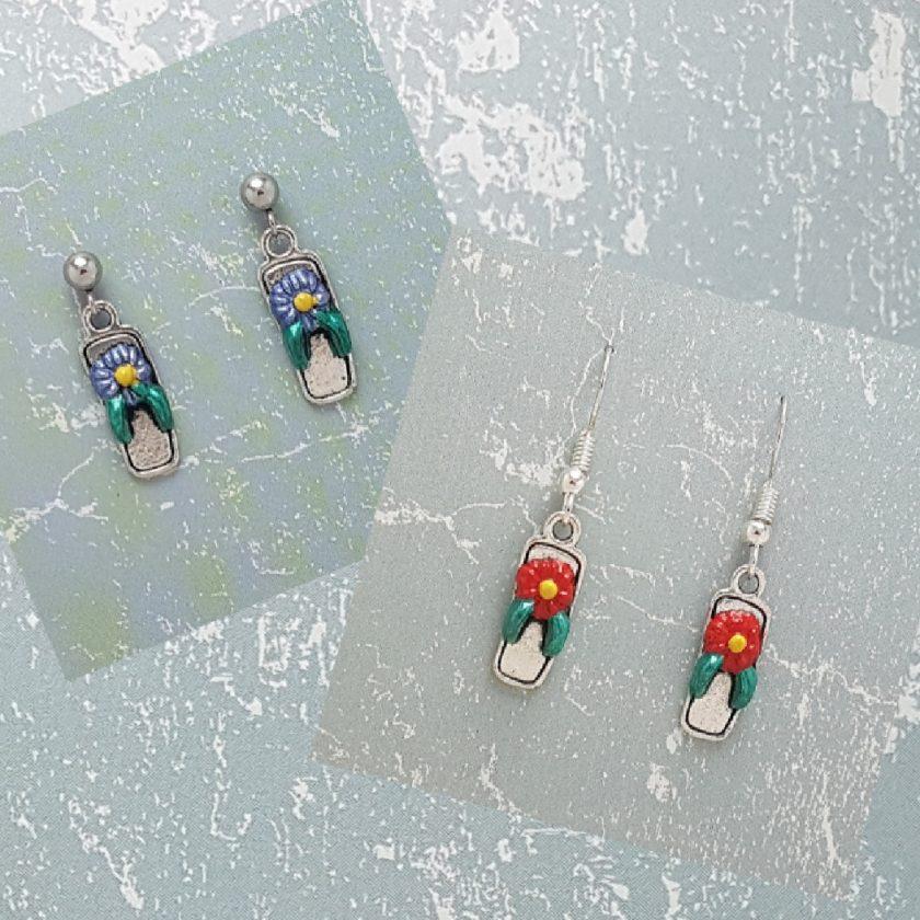 Earrings, Flip Flop Sandal - Choice of Ball Studs or Wire Hooks 1