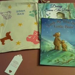 Children's  hand printed book pouch containing  2 story books