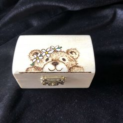 Pyrography Personalised key ring paw and heart design