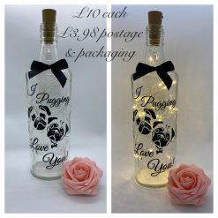 Led Light up bottle pug motif