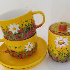 DAISIES MORNING SET Hand painted | Dishwasher and Microwave Safe |