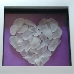 Purple sea glass heart framed picture
