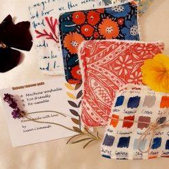 A set of 4 eco friendly reuseable makeup wipes. Surprise selection  Seasalt  fabric surprise selection.
