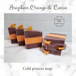 Handmade Artisan Brazilian orange and cocoa cold process soap ,free postage uk ,CPSR ,vegan friendly ,cruelty free soap