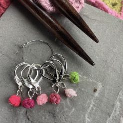 Chinese knot knitting stitch markers, keepers, holders - very lightweight - pink green pop - lever backs