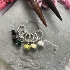Chinese knot knitting stitch markers, keepers, holders - very lightweight - greens - closed ring