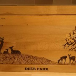HANDMADE SOLID BEECH LARGE BURNT ETCHED PICTURE CHOPPING BOARD