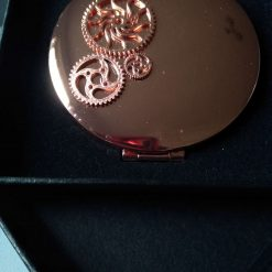 Rose Gold Compact Mirror with Cogs and Gears