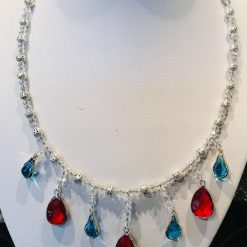 Crystal necklace with red and turquoise faceted drops