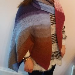 Asymetric hand knitted shawl