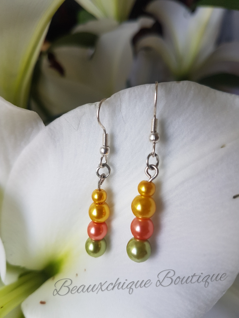Green Peach and Gold Drop Earrings 1