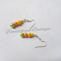 Green Peach and Gold Drop Earrings 3