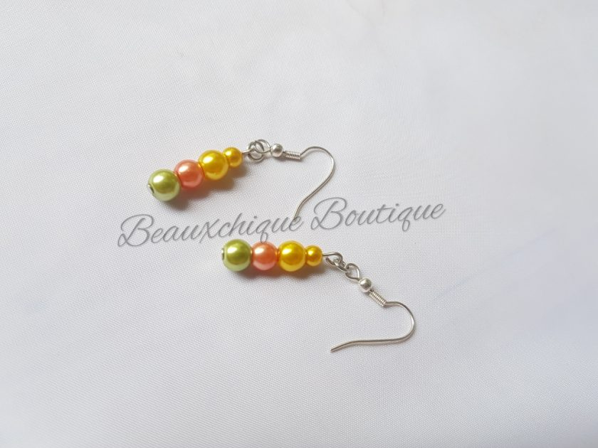 Green Peach and Gold Drop Earrings 2