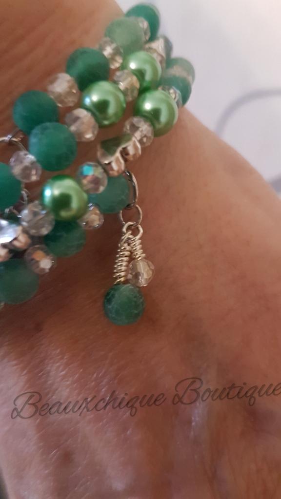Seabreeze - Green Cracked Glass Bracelet 8