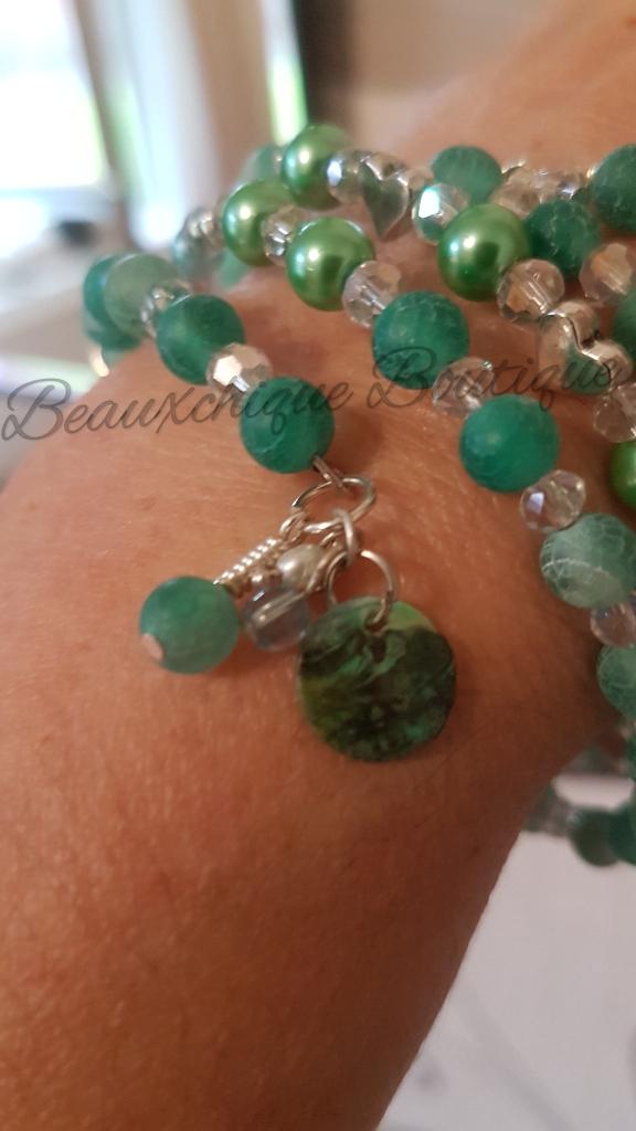 Seabreeze - Green Cracked Glass Bracelet 7
