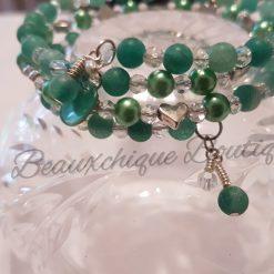 Seabreeze - Green Cracked Glass Bracelet 13