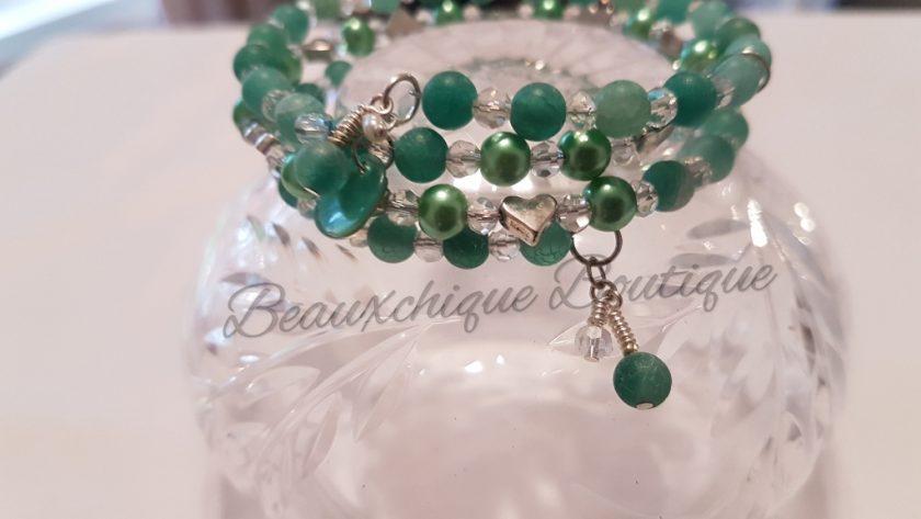 Seabreeze - Green Cracked Glass Bracelet 5