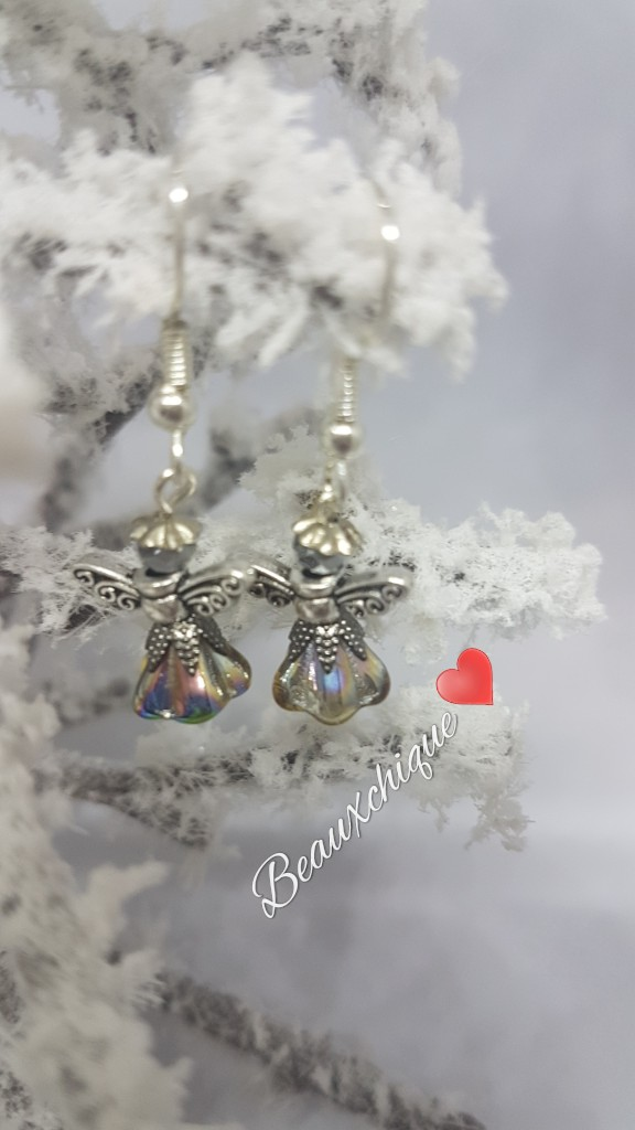 Silver and  Gold Guardian Angel Earrings 3