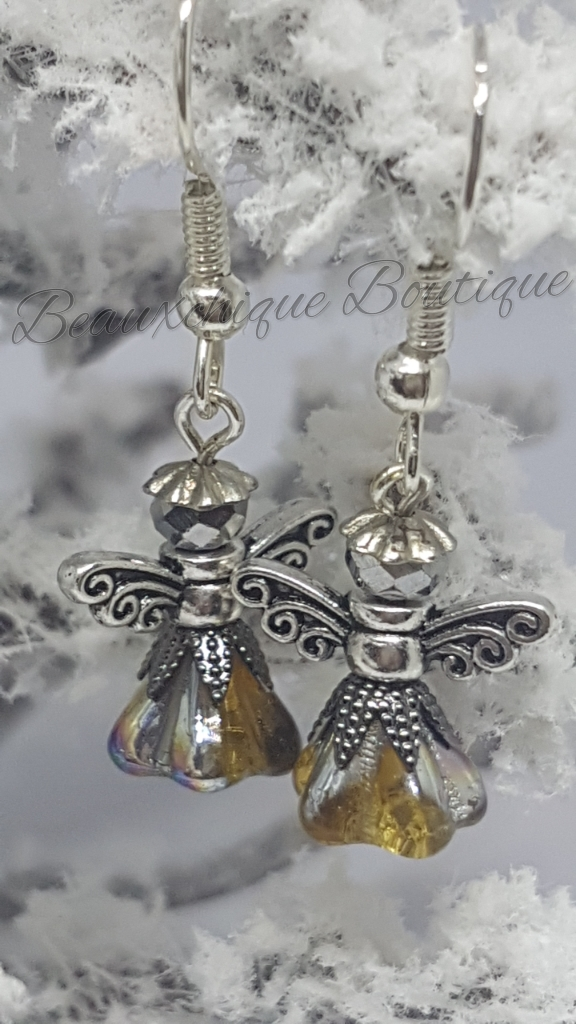 Silver and  Gold Guardian Angel Earrings 1
