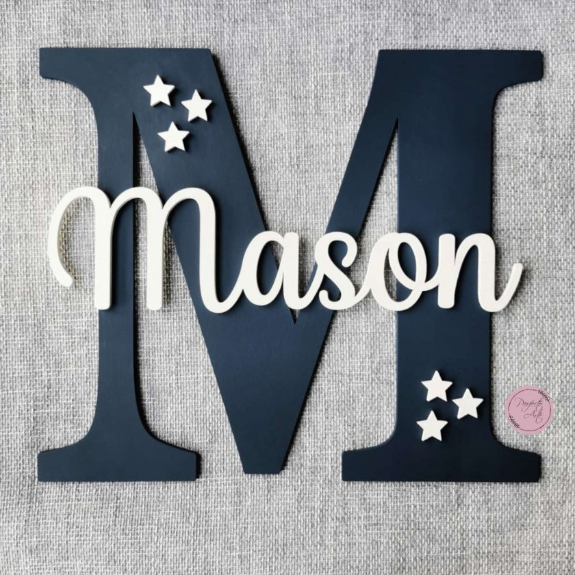 Personalised wooden wall initial with name, door sign, wooden name, wooden wall letter for kid's bedroom/nursery/playroom decor 1