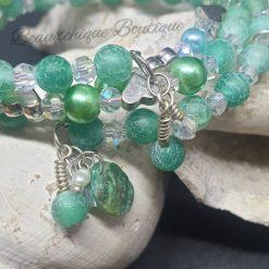 Seabreeze - Green Cracked Glass Bracelet 11