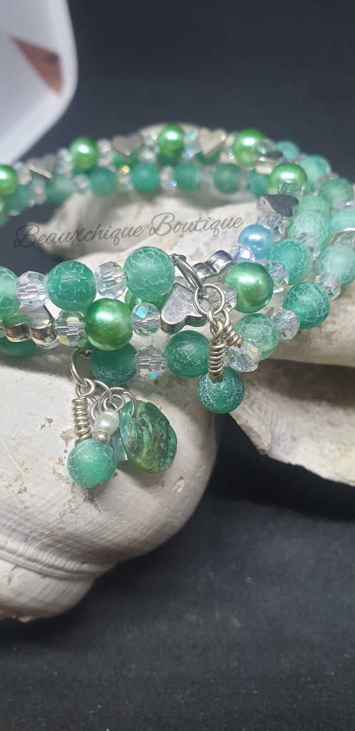 Seabreeze - Green Cracked Glass Bracelet 3