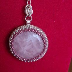 Rose Quartz Cabochon Necklace 2