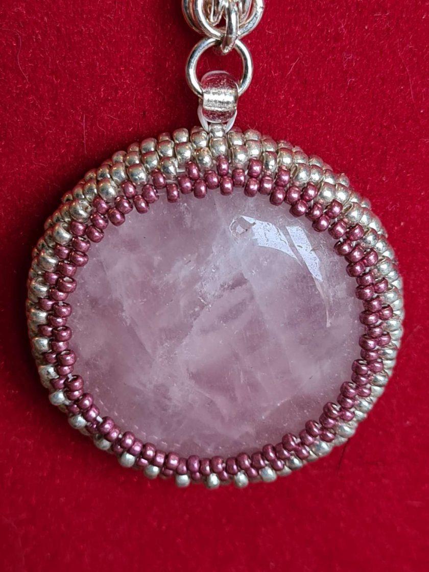 Rose Quartz Cabochon Necklace