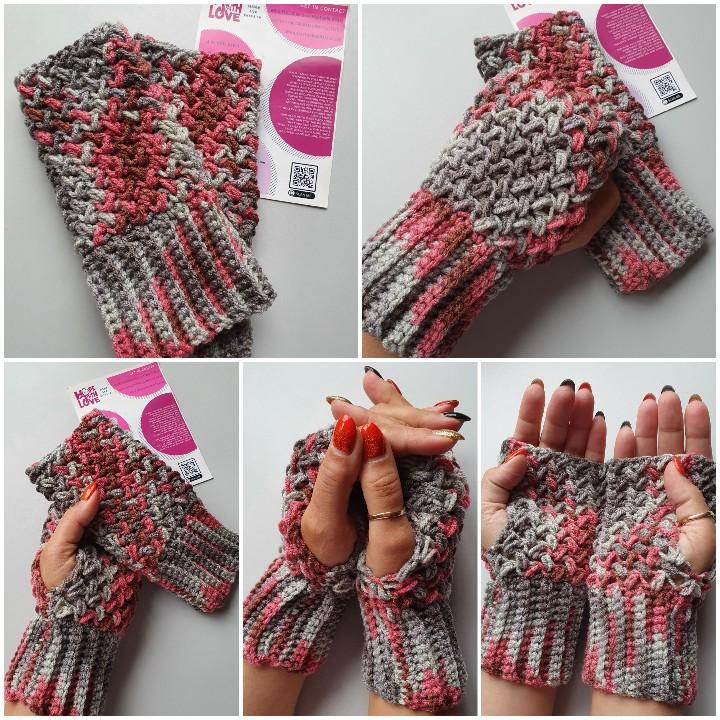 Handmade crocheted fingerless gloves. Grey/pink 1