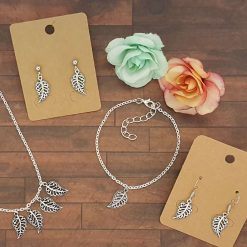 Filigree Leaf Necklace, Earrings, Bracelet, Jewellery   Tibetan Silver Charm Birthday Christmas Mothers Mother's Day Valentine Anniversary Easter Gifts Boho Gift Set Ideas   Charming Gifts